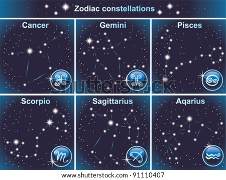 Vector zodiacal constellations