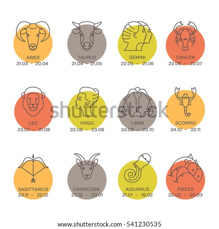 Vector zodiacal symbols. Astrology, horoscope sign, graphic design elements, printing template. Zodiac Signs  isolated on background.