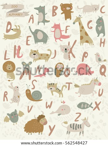 vector zoo alphabet with cute