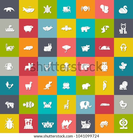 vector zoo and farm animals Icons set - animals silhouette - animalillustrations