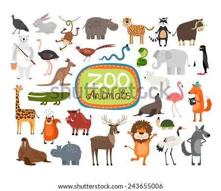 vector zoo animals many