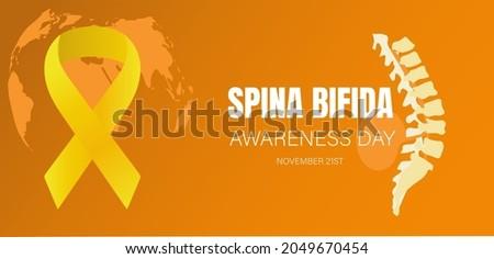 Vectorial illustration about spina bifida sensitization International Spina Bifida Day,with spine diagram Foto stock ©