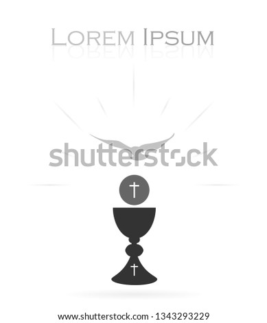 Vectorized drawing of a sacred chalice with divine host and Holy Spirit. Vector.