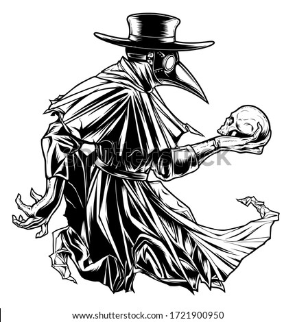 Vectorized ink drawing of plague doctor with human skull. Stockfoto ©