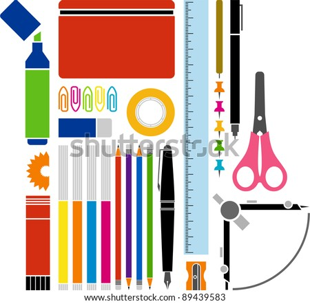 Vectorized office or school supplies
