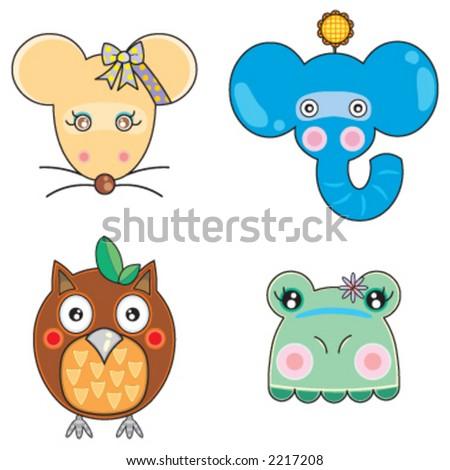Vectors Cute Animals Face 04 - 2217208 : Shutterstock