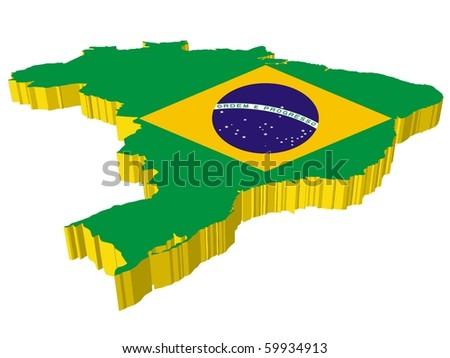 vectors 3D map of Brazil