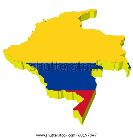 map of colombia. vectors 3D map of Colombia