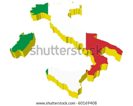 vectors 3D map of Italy