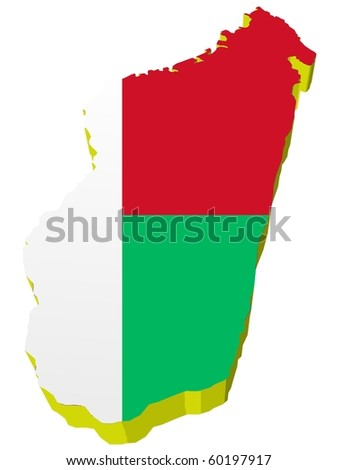vectors 3D map of Madagascar