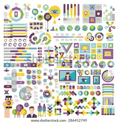 vectors info graphics set and