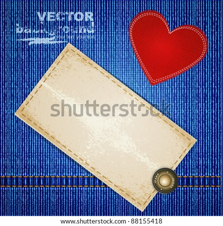 Vectors jeans background with the rivet, red heart and a cardboard label