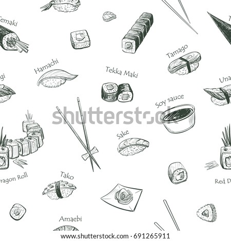 Vectors pattern sushi on a white background. Isolated sketches on white background.