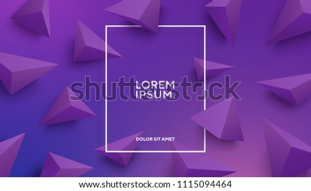 Vectror abstract background with flying pyramids and triangles. Geometric wallpeper with gravity shapes and forms.