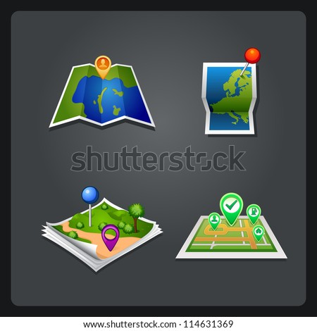 vectror map set icon with pin