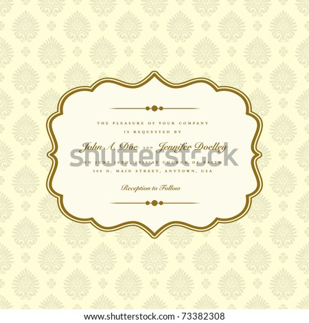 VectVector ornate frame and seamless pattern. Easy to edit. Perfect for invitations or announcements. or Ornaments and Ornate Frame