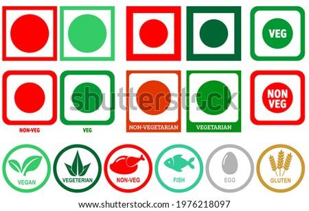 Veg, Non-Veg, Chicken, Fish, Egg and Gluten Icon Symbol Vector Stock fotó ©