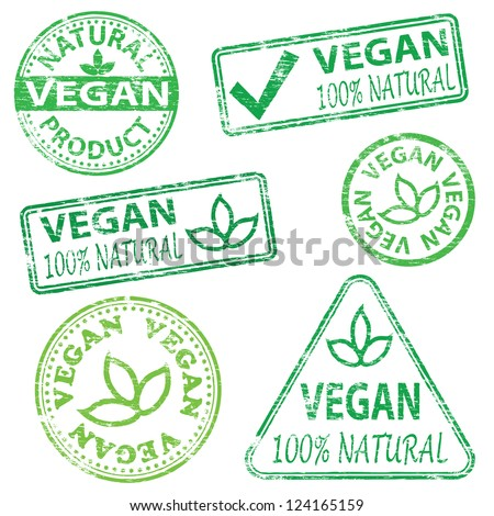Vegan and natural food. Rubber stamp vector illustrations