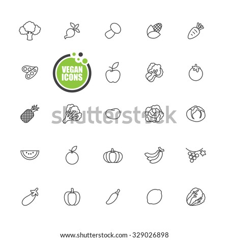 Vegan and Vegetarian food, Vegetables and fruits icons line set
