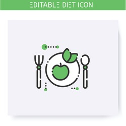 Vegan diet line icon. Ketogenic low carb diet. Weight loss. Portion control. Healthy eating. Dietary nutrition. Calorie count. Slimming concept. Isolated vector illustration. Editable stroke
