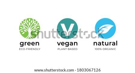 Vegan food label icon set. Green eco-friendly plant based product symbol. Natural organic bio wellness sign. Vector illustration.