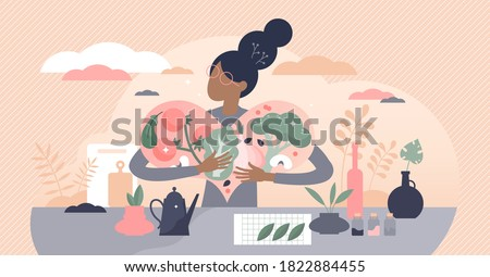Vegan food lifestyle with vegetables and balanced diet tiny persons concept. Fresh organic products for eco catering with nutrition and vitamins from raw fruit, greens and nuts vector illustration.
