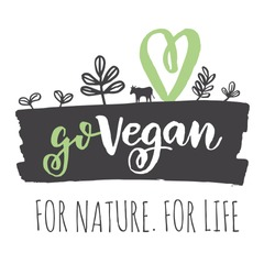 Vegan logo. Go Vegan logo concept. Fresh healthy organic vegan food vector hand drawn illustration. Vegetarian eco green concept