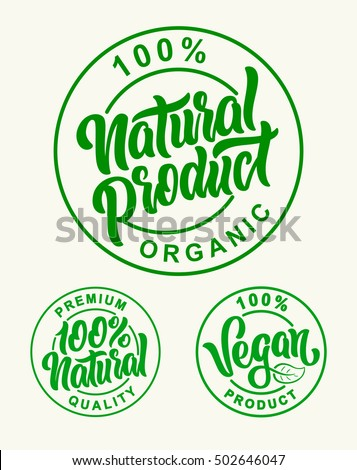 Vegan 100% Natural Product Vector Set Lettering Stamps Illustration.