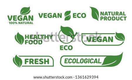 Vegan tag label. Veganism badge logo, vegetarian organic products and organic food badges. Green restaurant stamp or gluten free organic eco logotype. Vector isolated icons set