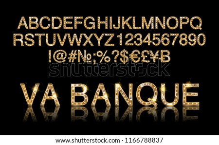 Vegas Casino or Retro Broadway Style Night Font. Gold and Red colored vector alphabet. Vector illustration