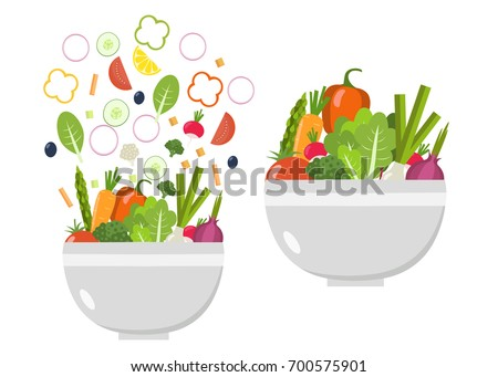 Vegetable bowl and plate. Slices of vegetables. Flat design. #700575901