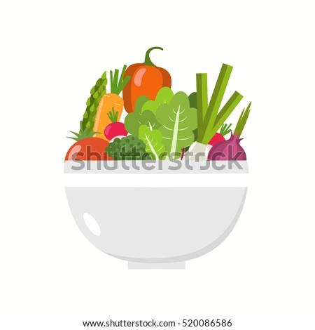 Vegetable bowl. Flat design. #520086586