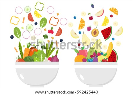 Vegetable bowl. Fruit bowl. Slices of vegetables. Flat design.