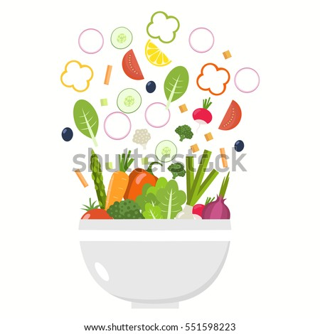 Vegetable bowl. Slices of vegetables. Flat design.