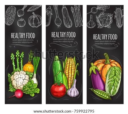 Vegetable chalkboard banners with chalk sketch. Tomato, cabbage and onion, zucchini, garlic and radish, eggplant, corn cob, pumpkin and asparagus, green pea, cauliflower blackboard poster design #759922795