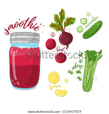 Vegetable cocktail for healthy life. Smoothies with beet, lemon, cucumber and  celery. Recipe vegetarian organic smoothie in jar. Template recipe card with detox drink for diet. Vector.