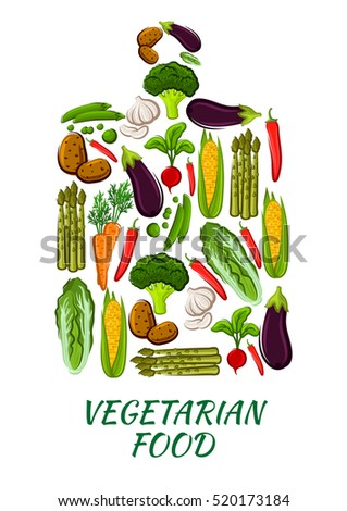 Vegetable cutting board symbol with carrot, cabbage, pepper, eggplant, garlic and potato, broccoli and radish, pea, corn and asparagus vegetables. Vegetarian food, healthy nutrition themes design