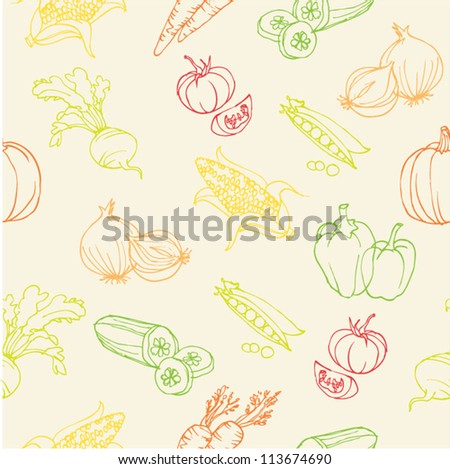 Vegetable doodles seamless vector