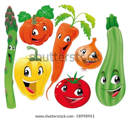Vegetable family. Funny cartoon and vector isolated characters.