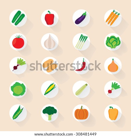 Vegetable flat icons with a shadow.