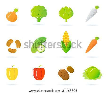 Vegetable food icons collection isolated on white. Vector