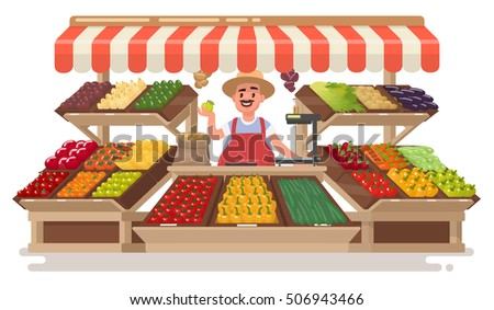 Vegetable Fruit local Shop. Happy Farmer  sells fresh natural products . Vector illustration in a flat style.