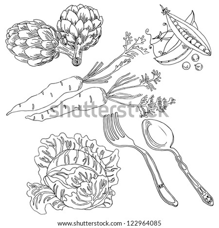 Vegetable hand-drawn set in vector