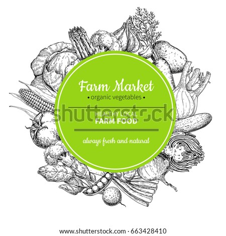 Vegetable hand drawn vintage vector illustration. Farm Market frame poster. Vegetarian set of organic products. Detailed food drawing. Great for menu, banner, label, logo, flyer