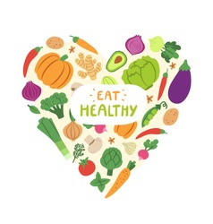 Vegetable heart with eat healthy sign