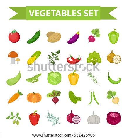 Vegetable icon set, flat, cartoon style. Fresh vegetables and herbs isolated on white background. Farm products, vegetarian food. Cabbage, beets, peppers, greens, potatoes, tomato. Vector illustration