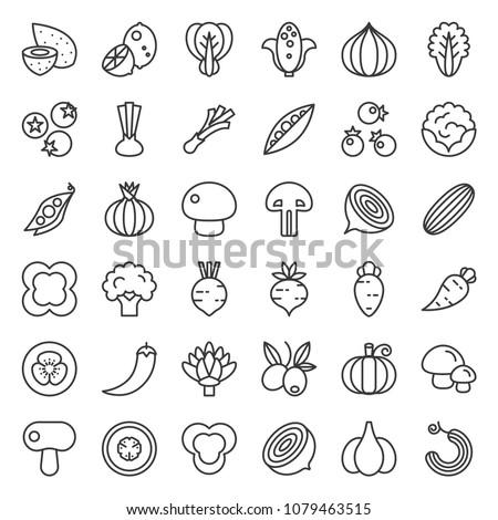 vegetable icon set 2 2  line