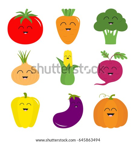 Vegetable icon set. Pepper, tomato, carrot, broccoli, onion, sweet corn, beet, eggplant aubergine pumpkin. Smiling face Healthy food Education card for kids. Flat design White background. Vector