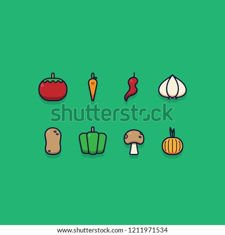 Vegetable icon vector illustration set with outline and detailed style. #1211971534