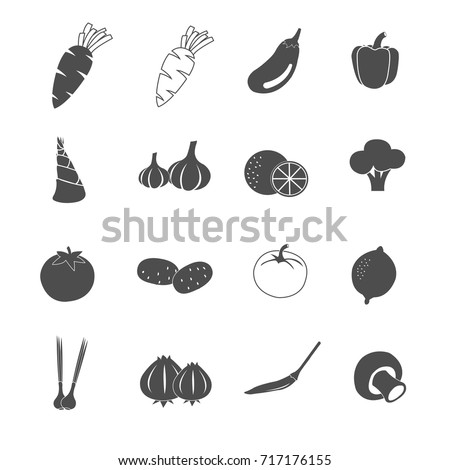 vegetable icons set vector #717176155
